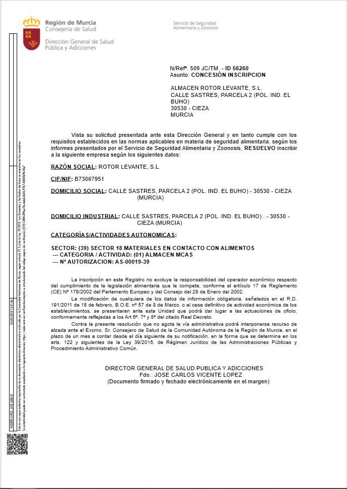 Certificado Rotor Levante